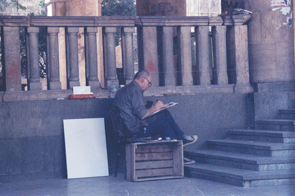 a man in the street, painting